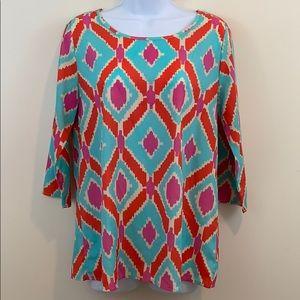 mi ami 3/4 Sleeve Keyhole Back Shirt  Size L